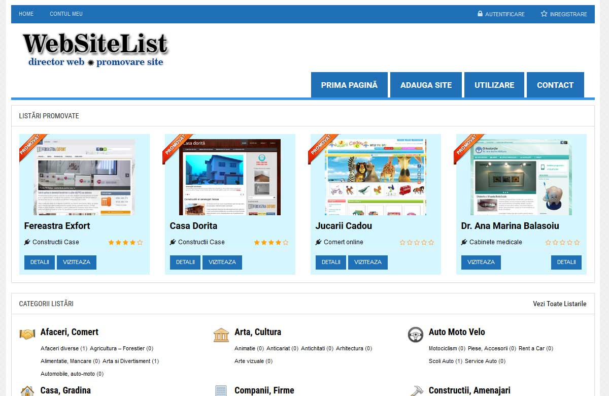 Websitelist – promovare site